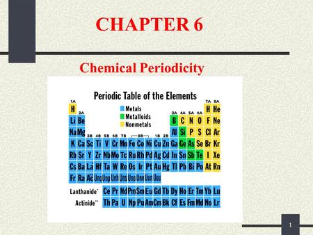 1 CHAPTER 6 Chemical Periodicity. 2 Chapter Goals 1. More About the Periodic Table Periodic Properties of the Elements 2. Atomic Radii 3. Ionization Energy.