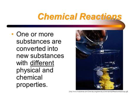Chemical Reactions One or more substances are converted into new substances with different physical and chemical properties. [http://www.hwscience.com/Chemistry/regchemistry/Chemical%20Reactions%20copy.gif]
