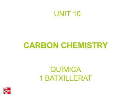 UNIT 10 CARBON CHEMISTRY QUÍMICA 1 BATXILLERAT. Isomerism Two chemical compounds are isomers when they have the same simplified molecular formula but.