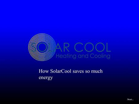 Next… How SolarCool saves so much energy. Next… Evaporator Compressor SolarCool Condenser Expansion Valve Staged compression system, full load – no sun.