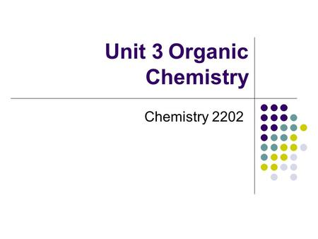 Unit 3Organic Chemistry Chemistry 2202. Introduction Organic Chemistry is the study of the molecular compounds of carbon. eg. CH 4 CH 3 OHCH 3 NH 2 Organic.