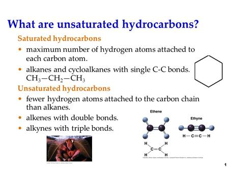 What are unsaturated hydrocarbons? Saturated hydrocarbons maximum number of hydrogen atoms attached to each carbon atom. alkanes and cycloalkanes with.