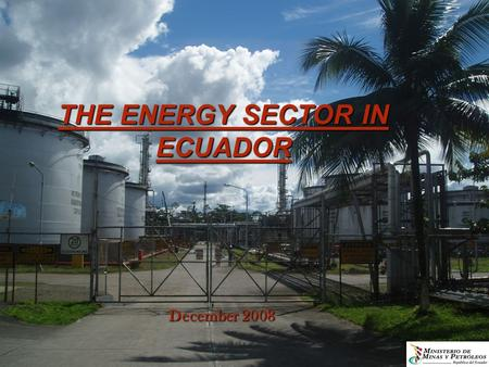 THE ENERGY SECTOR IN ECUADOR December 2008. In Ecuador agent suppliers of energy information, in accordance with the structure of the government, are.