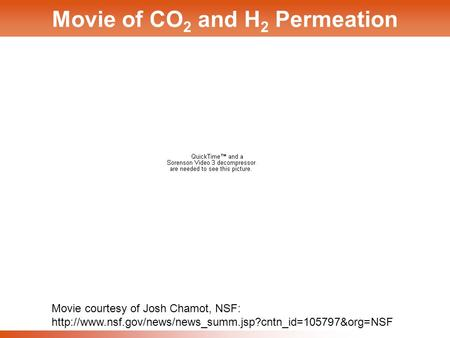 1 Movie of CO 2 and H 2 Permeation Movie courtesy of Josh Chamot, NSF: