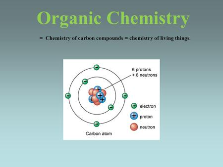 Organic Chemistry = Chemistry of carbon compounds = chemistry of living things.