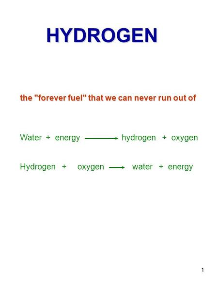 1 the forever fuel that we can never run out of HYDROGEN Water + energy hydrogen + oxygen Hydrogen + oxygen water + energy.