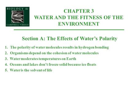 CHAPTER 3 WATER AND THE FITNESS OF THE ENVIRONMENT Section A: The Effects of Water's Polarity 1.The polarity of water molecules results in hydrogen bonding.