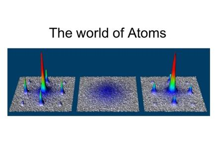 The world of Atoms. Quantum Mechanics Theory that describes the physical properties of smallest particles (atoms, protons, electrons, photons) A scientific.
