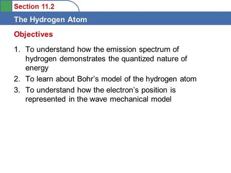 Objectives To understand how the emission spectrum of hydrogen demonstrates the quantized nature of energy To learn about Bohr's model of the hydrogen.