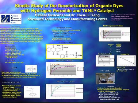 Kinetic Study of the Decolorization of Organic Dyes with Hydrogen Peroxide and TAML  Catalyst Melissa Medeiros and Dr. Chen-Lu Yang Advanced Technology.