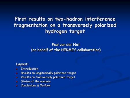 First results on two-hadron interference fragmentation on a transversely polarized hydrogen target Paul van der Nat (on behalf of the HERMES collaboration)