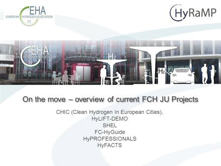 Page 1 On the move – overview of current FCH JU Projects CHIC (Clean Hydrogen In European Cities), HyLIFT-DEMO SHEL FC-HyGuide HyPROFESSIONALS HyFACTS.