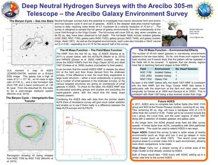 Deep Neutral Hydrogen Surveys with the Arecibo 305-m Telescope – the Arecibo Galaxy Environment Survey Robert Minchin NAIC Arecibo Observatory.