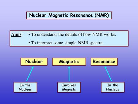 Nuclear Magnetic Resonance (NMR) Aims: To understand the details of how NMR works. To interpret some simple NMR spectra. Magnetic Nuclear Resonance In.