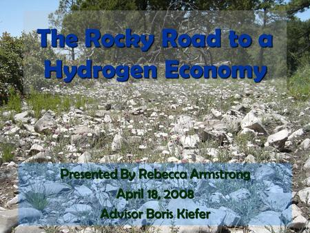 The Rocky Road to a Hydrogen Economy Presented By Rebecca Armstrong April 18, 2008 Advisor Boris Kiefer.