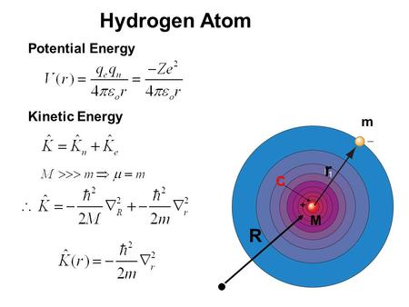 20_01fig_PChem.jpg Hydrogen Atom M m r Potential Energy + Kinetic Energy R C.