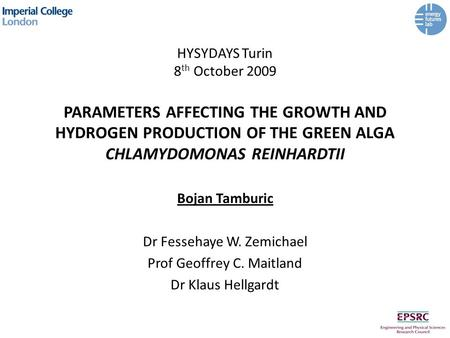 HYSYDAYS Turin 8 th October 2009 PARAMETERS AFFECTING THE GROWTH AND HYDROGEN PRODUCTION OF THE GREEN ALGA CHLAMYDOMONAS REINHARDTII Bojan Tamburic Dr.