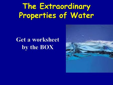 The Extraordinary Properties of Water. Water (1) threeWater is made up of three atoms: one oxygen and two hydrogen. The formula for a water molecule is.
