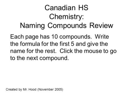 Canadian HS Chemistry: Naming Compounds Review