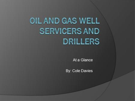 At a Glance By: Cole Davies. Oil and Gas Well Servicers.