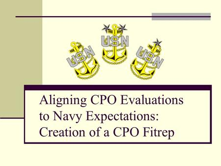 Aligning CPO Evaluations to Navy Expectations: Creation of a CPO Fitrep.