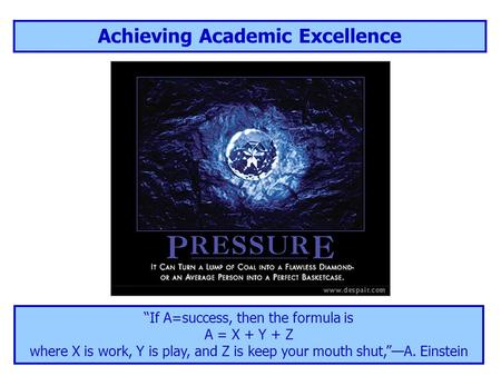 "Achieving Academic Excellence ""If A=success, then the formula is A = X + Y + Z where X is work, Y is play, and Z is keep your mouth shut,""—A. Einstein."