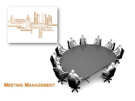 M EETING M ANAGEMENT Learn and demonstrate the ability to plan, prepare, conduct and follow up on meetings. 2 M EETING M ANAGEMENT L EARNING O BJECTIVES.