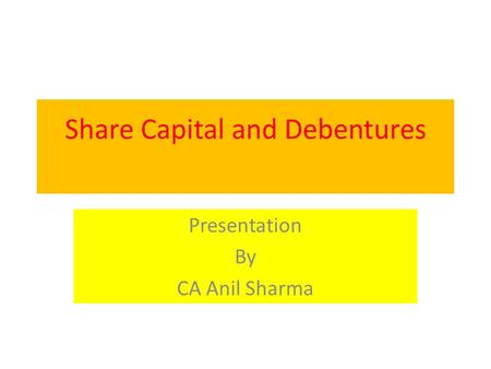 Share Capital and Debentures