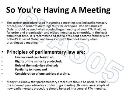 So You're Having A Meeting
