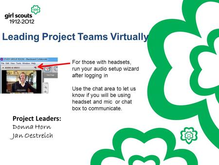Leading Project Teams Virtually Project Leaders: Donna Horn Jan Oestreich For those with headsets, run your audio setup wizard after logging in Use the.