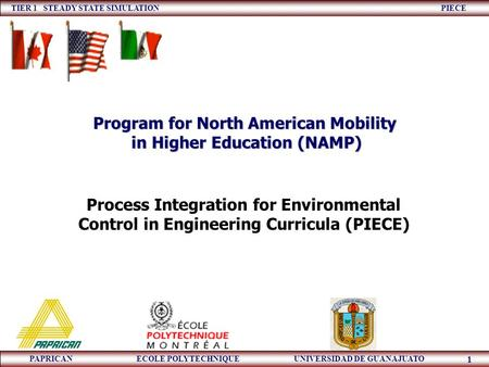 TIER 1 STEADY STATE SIMULATION PIECE PAPRICAN ECOLE POLYTECHNIQUE UNIVERSIDAD DE GUANAJUATO 1 Process Integration for Environmental Control in Engineering.