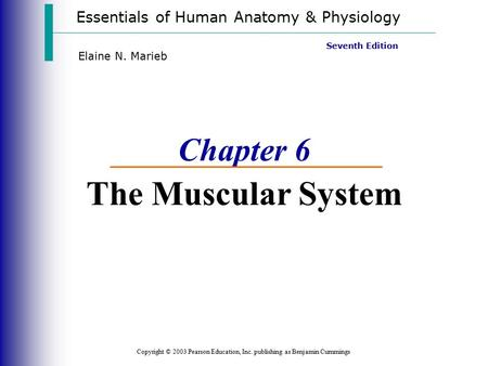 Essentials of Human Anatomy & Physiology Copyright © 2003 Pearson Education, Inc. publishing as Benjamin Cummings Seventh Edition Elaine N. Marieb Chapter.