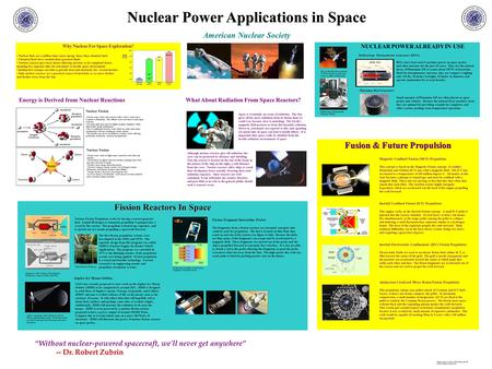 Nuclear Power Applications in Space American Nuclear Society Why Nuclear For Space Exploration? Nuclear fuels are a million times more energy dense than.