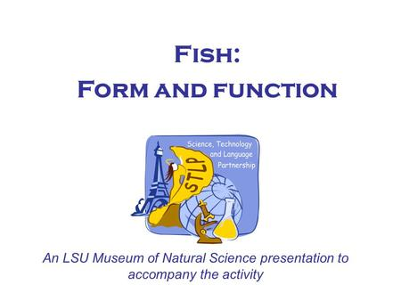Fish: Form and function An LSU Museum of Natural Science presentation to accompany the activity.