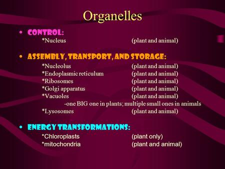 Organelles Control: *Nucleus (plant and animal) Assembly, Transport, and Storage: *Nucleolus(plant and animal) *Endoplasmic reticulum (plant and animal)