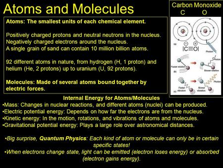 Atoms and Molecules Atoms: The smallest units of each chemical element. Positively charged protons and neutral neutrons in the nucleus. Negatively charged.