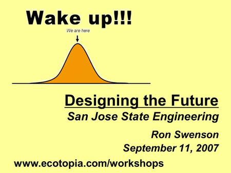 Designing the Future San Jose State Engineering Ron Swenson September 11, 2007 www.ecotopia.com/workshops.