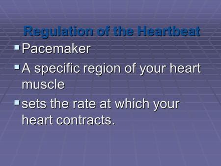 Regulation of the Heartbeat  Pacemaker  A specific region of your heart muscle  sets the rate at which your heart contracts.