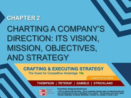 CHAPTER 2 CHARTING A COMPANY'S DIRECTION: ITS VISION, MISSION, OBJECTIVES, AND STRATEGY.