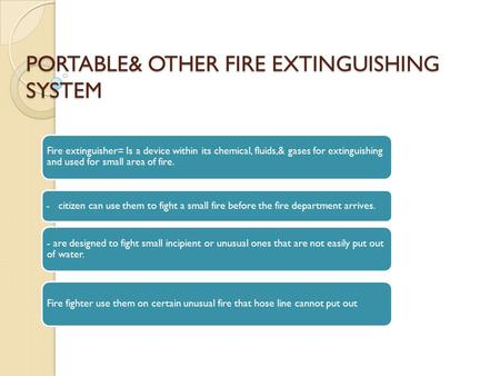 Fire extinguishing system definitions