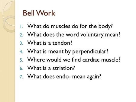 Bell Work 1. What do muscles do for the body? 2. What does the word voluntary mean? 3. What is a tendon? 4. What is meant by perpendicular? 5. Where would.
