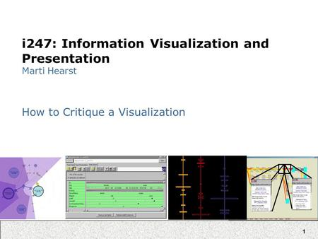 1 i247: Information Visualization and Presentation Marti Hearst How to Critique a Visualization.