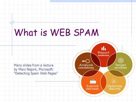 "What is WEB SPAM Many slides from a lecture by Marc Najork, Microsoft: ""Detecting Spam Web Pages"""