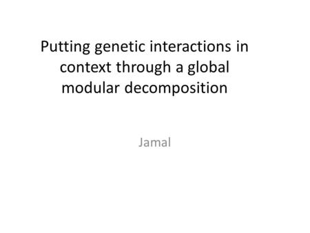 Putting genetic interactions in context through a global modular decomposition Jamal.