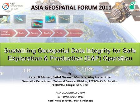 ASIA GEOSPATIAL FORUM 2011 Sustaining Geospatial Data Integrity for Safe Exploration & Production (E&P) Operation By: Razali B Ahmad, Saiful Nizam B Mustafa,