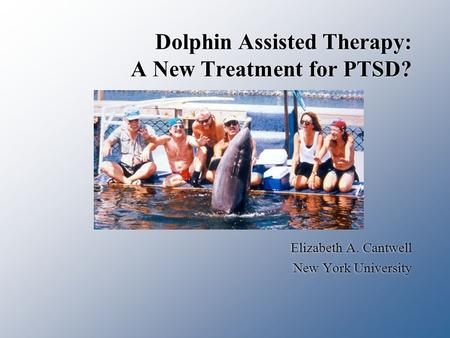 Dolphin Assisted Therapy: A New Treatment for PTSD? Elizabeth A. Cantwell New York University Elizabeth A. Cantwell New York University.