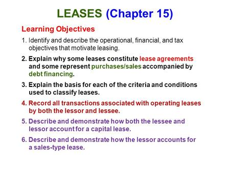 LEASES (Chapter 15) Learning Objectives