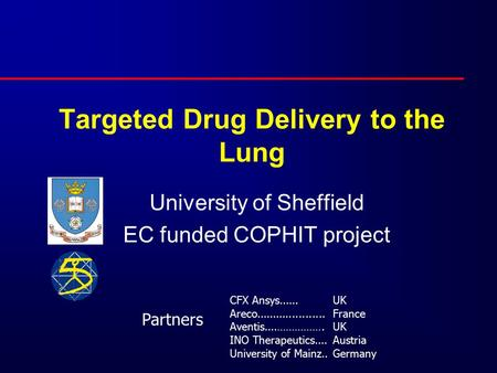 Targeted Drug Delivery to the Lung University of Sheffield EC funded COPHIT project CFX Ansys...... Areco..................... Aventis....……………. INO Therapeutics....