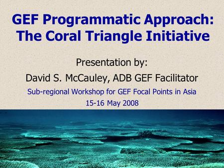 GEF Programmatic Approach: The Coral Triangle Initiative Presentation by: David S. McCauley, ADB GEF Facilitator Sub-regional Workshop for GEF Focal Points.
