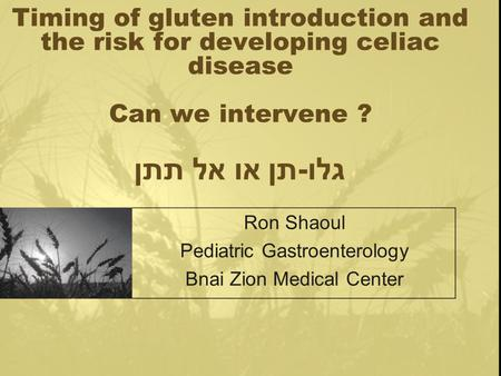 Timing of gluten introduction and the risk for developing celiac disease Can we intervene ? גלו - תן או אל תתן Ron Shaoul Pediatric Gastroenterology Bnai.